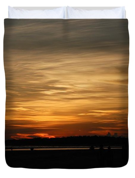 Duvet Cover featuring the photograph Sunset In Pastels by Fotosas Photography