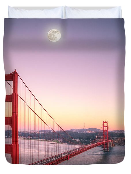 Sunset In San Francisco Duvet Cover by Jim And Emily Bush