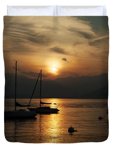 Sunset Lake Maggiore Duvet Cover by Joana Kruse