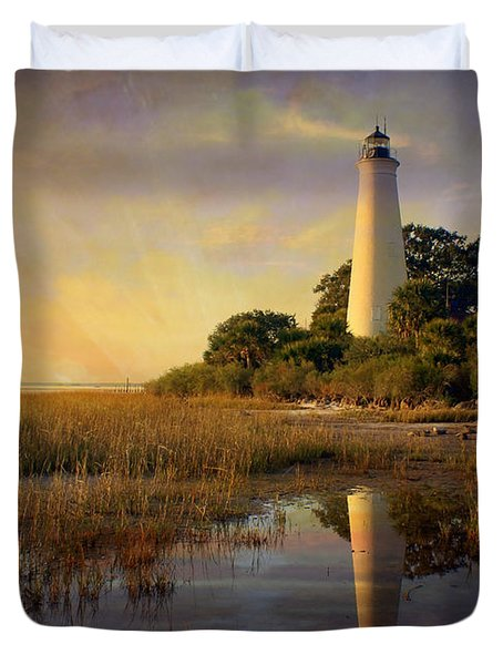 Sunset Lighthouse 3 Duvet Cover by Marty Koch