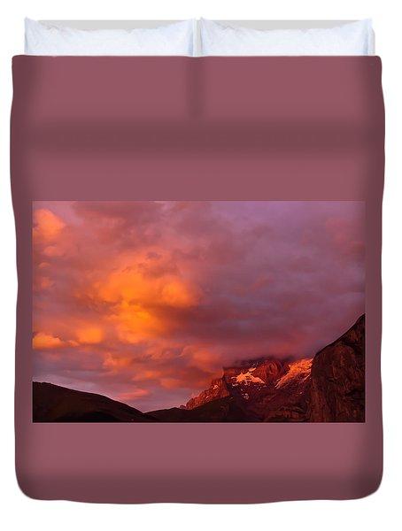 Sunset Murren Switzerland Duvet Cover