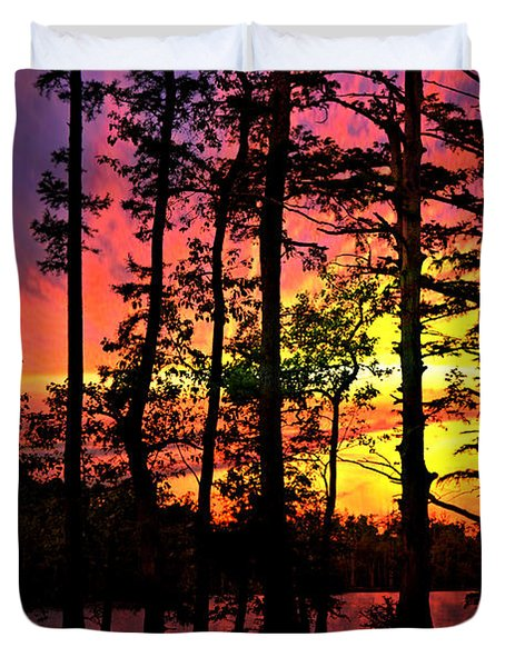 Sunset On Horseshoe Lake 1 Duvet Cover by Marty Koch