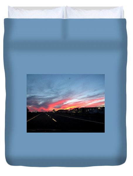 Sunset On Route 66 Duvet Cover