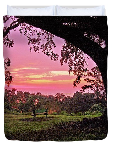 Sunset On The Bench Duvet Cover by Michael Thomas