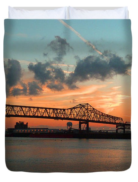 Sunset On The Mississippi  Duvet Cover by Lydia Holly