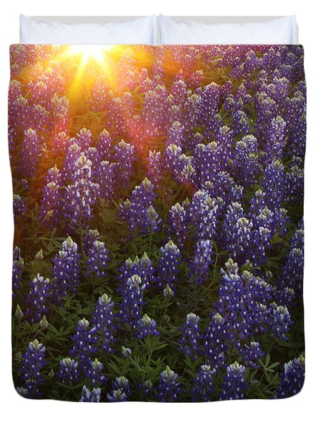 Sunset Over Bluebonnets Duvet Cover