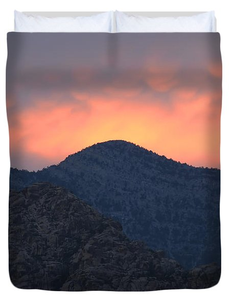 Sunset Over Red Rock Duvet Cover by Art Whitton