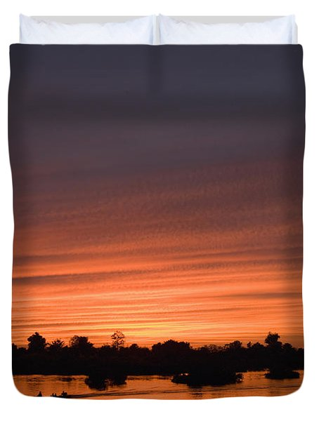 Sunset Over River Duvet Cover by Axiom Photographic
