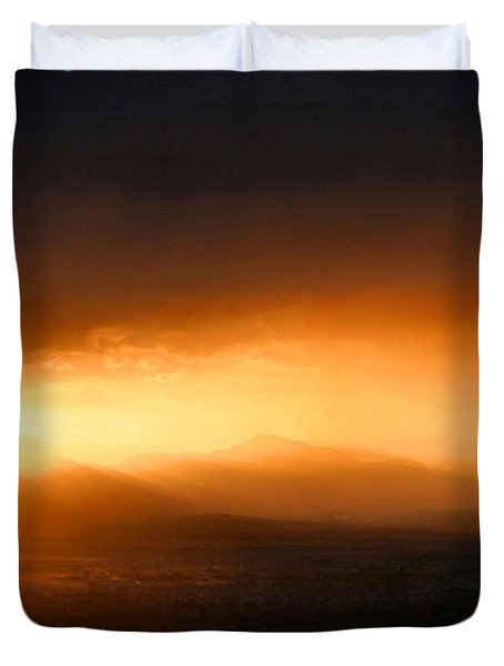 Sunset Over Salt Lake City Duvet Cover by Kristin Elmquist