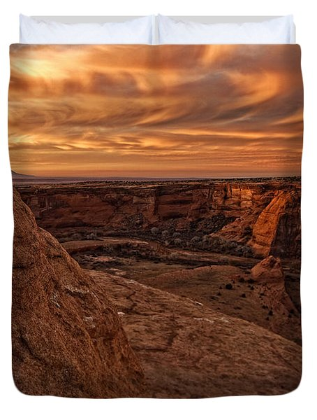 Sunset Over The Rim Of Canyon De Duvet Cover