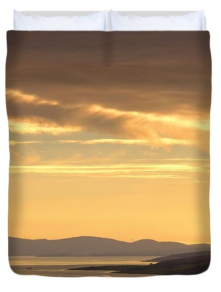 Sunset Over Water, Argyll And Bute Duvet Cover by John Short