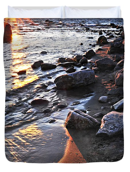 Sunset Over Water Duvet Cover by Elena Elisseeva
