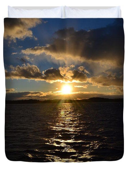 Sunset Over Winnepesaukee Duvet Cover