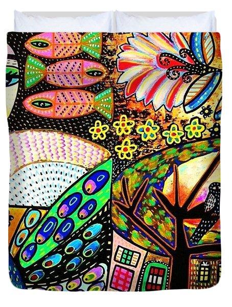 -sunset Peacock Goddess Duvet Cover