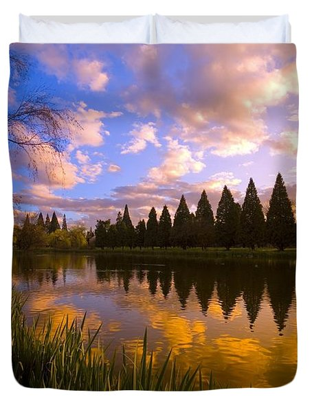 Sunset Reflection On A Pond, Portland Duvet Cover by Craig Tuttle