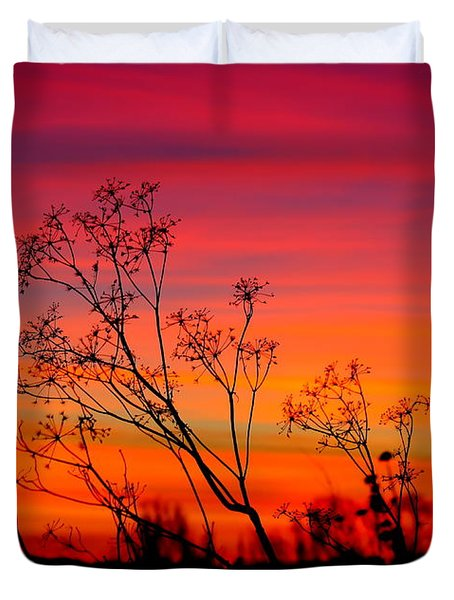 Sunset Silhouette Duvet Cover by Patrick Witz