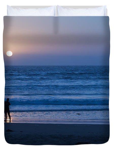 Sunset Surfer Duvet Cover by Heidi Smith