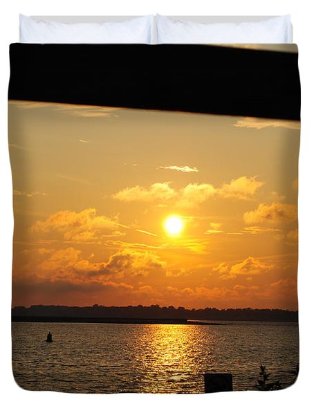 Duvet Cover featuring the photograph Sunset Through The Rails by Michael Frank Jr