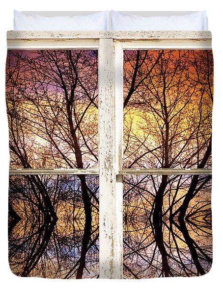 Sunset Tree Silhouette Colorful Abstract Picture Window View Duvet Cover by James BO  Insogna