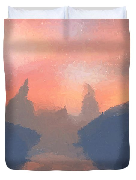 Sunset Valley  Duvet Cover by Pixel  Chimp