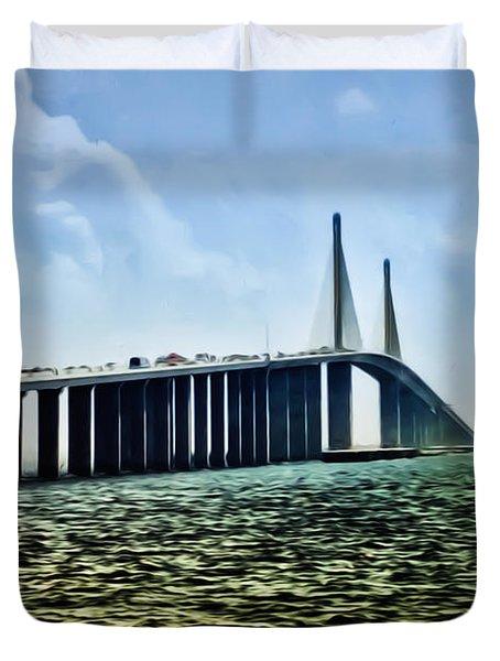 Sunshine Skyway Bridge - Tampa Bay Duvet Cover by Bill Cannon