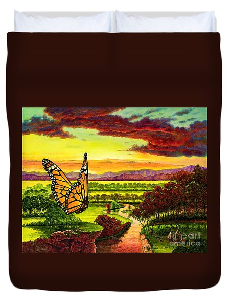 Sunshine Traveler-monarch Duvet Cover