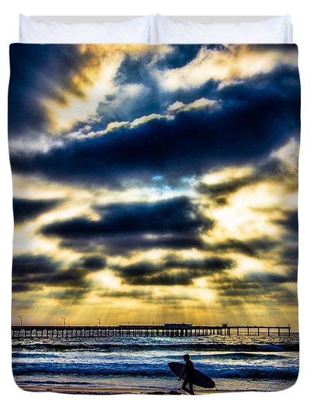 Surfer At Pacific Beach Duvet Cover by Chris Lord