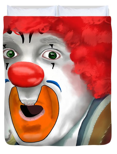 Surprised Clown Duvet Cover by Methune Hively