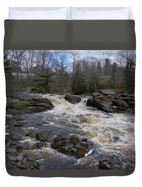 Duvet Cover featuring the photograph Surry Falls by Francine Frank