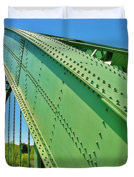 Duvet Cover featuring the photograph Suspension Bridge by Sherman Perry