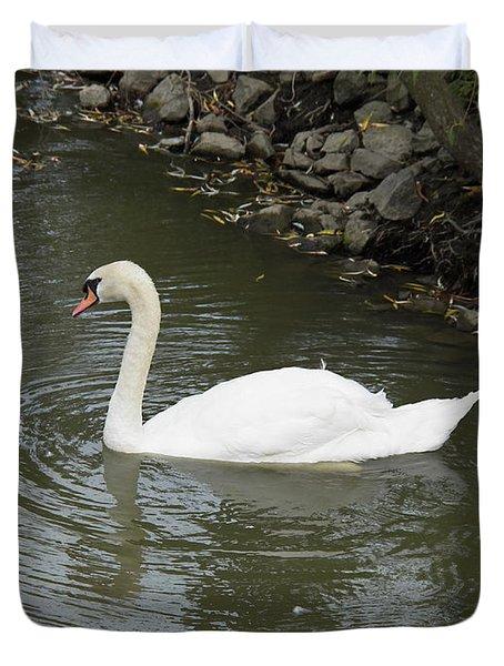 Swan Along The Shoreline Duvet Cover by Corinne Elizabeth Cowherd