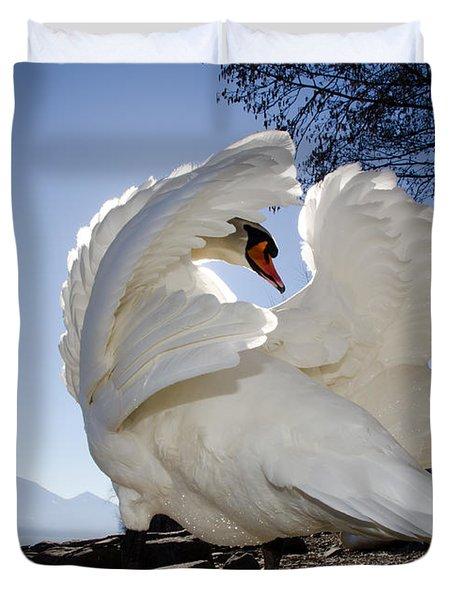 Swan In Backlight Duvet Cover