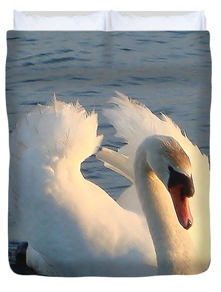 Duvet Cover featuring the photograph Swan by Katy Mei