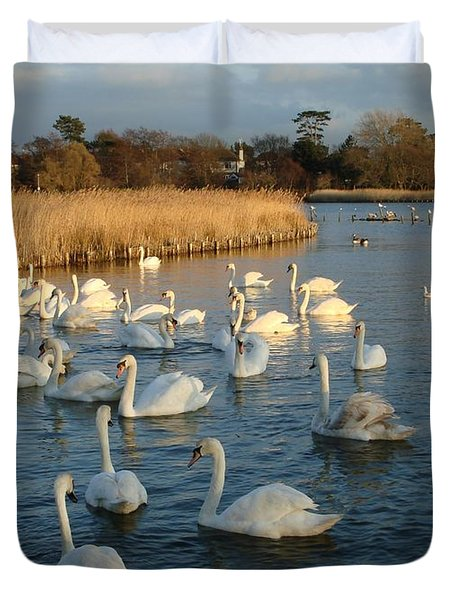 Duvet Cover featuring the photograph Swan Lake by Katy Mei
