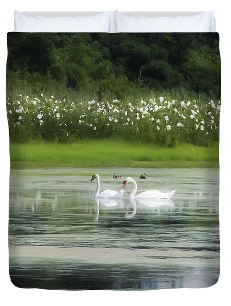 Swan Pond Duvet Cover by Bill Cannon