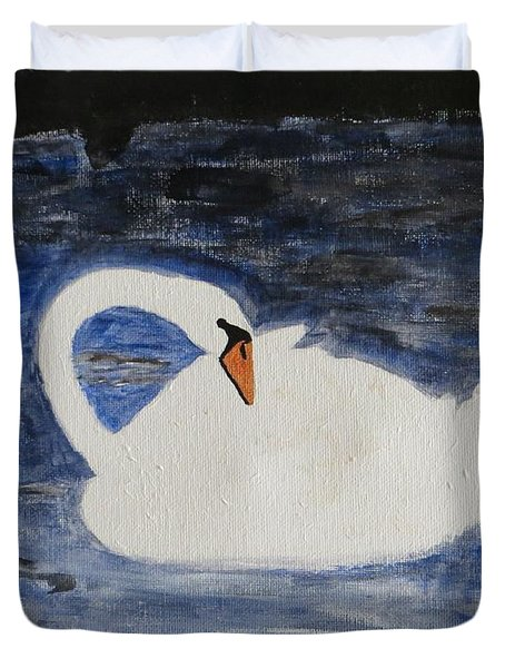 Duvet Cover featuring the painting Swan  by Sonali Gangane