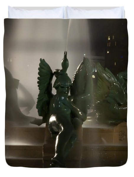 Swann Fountain At Night Duvet Cover by Bill Cannon