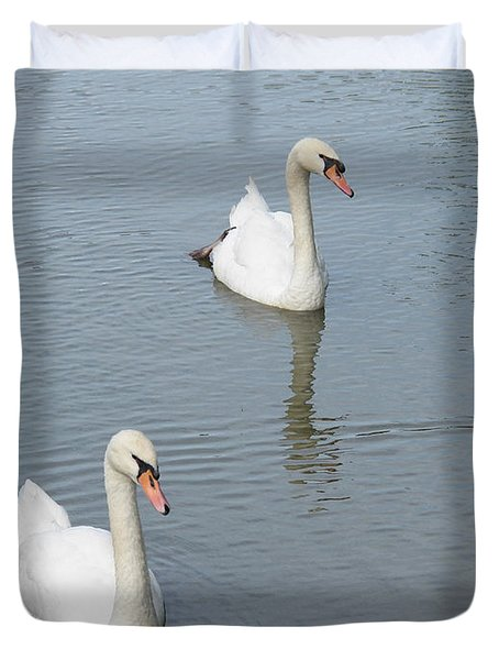 Swans Drifting Along Duvet Cover by Corinne Elizabeth Cowherd