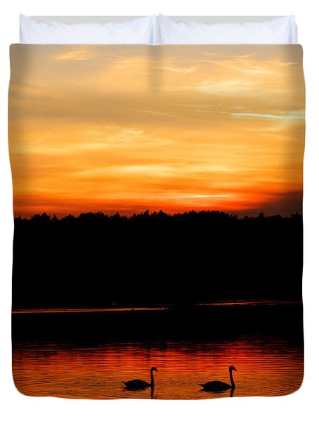 Swans In The Sunset Duvet Cover