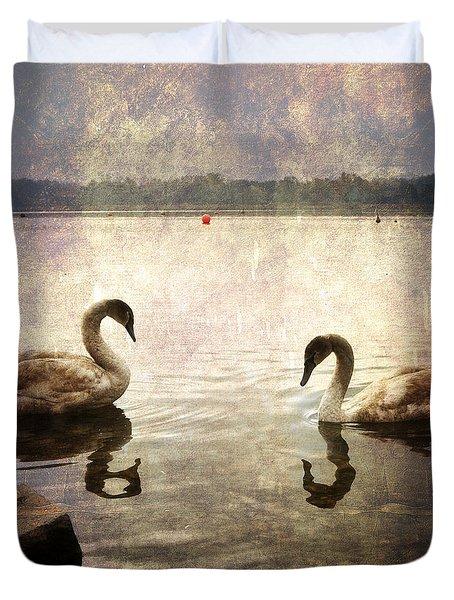 swans on Lake Varese in Italy Duvet Cover by Joana Kruse
