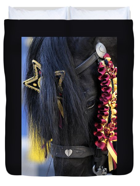 sweetheart - a Menorca race horse with traditional multicolor ribbons and mirror star Duvet Cover