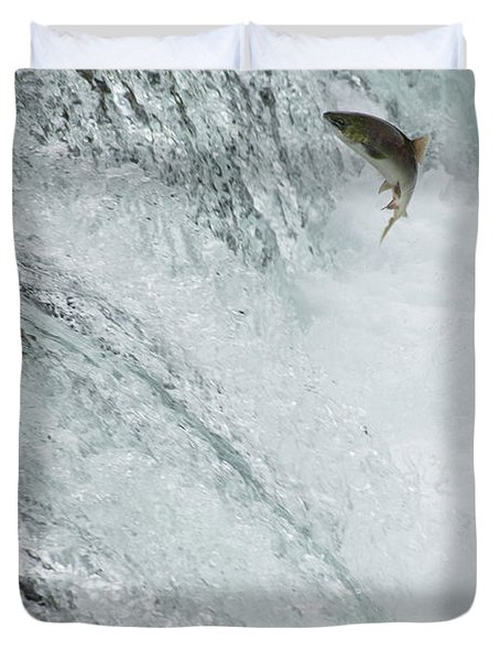 Swimming Upstream Duvet Cover by Gloria & Richard Maschmeyer