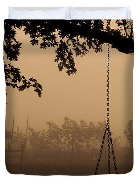 Swing In The Fog Duvet Cover by Cheryl Baxter