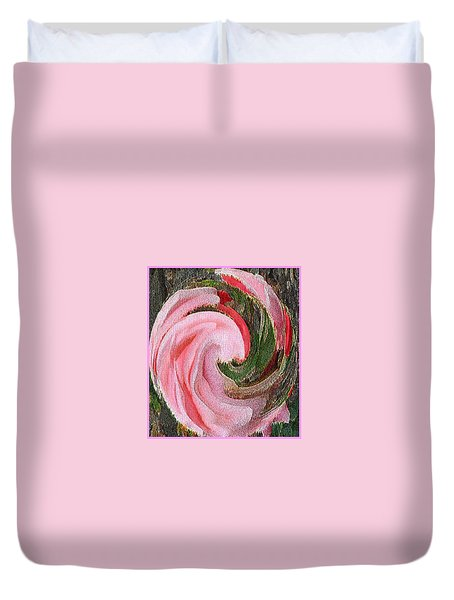 Swirling Pink Parrot Feather Duvet Cover