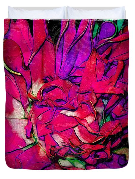 Swirly Fabric Flower Duvet Cover by Judi Bagwell