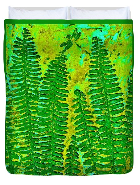 Sword Fern Fossil-green Duvet Cover