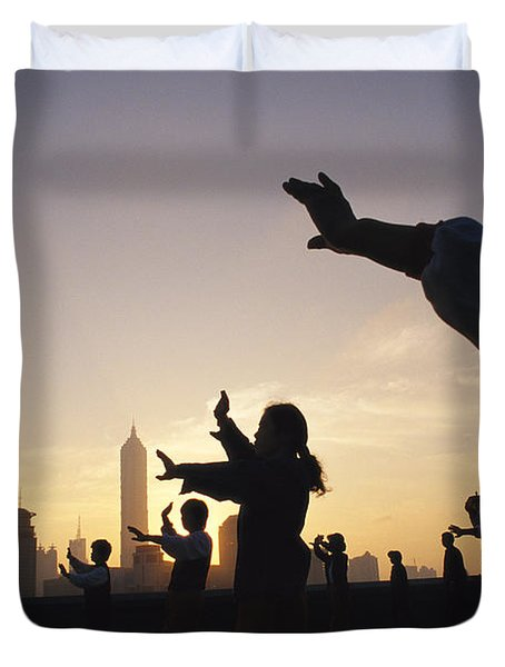 Tai Chi On The Bund In The Morning Duvet Cover by Justin Guariglia