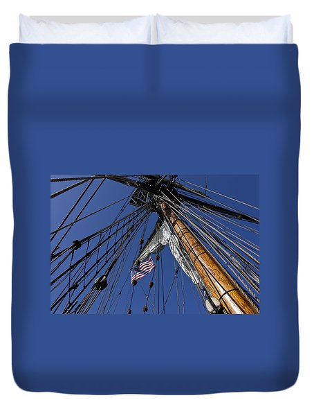 Tall Ship Rigging Duvet Cover by Garry Gay