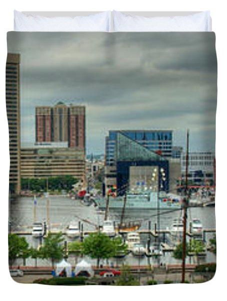 Tall Ships At Baltimore Inner Harbor Duvet Cover