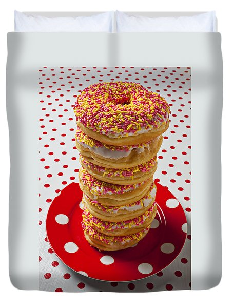 Tall Stack Of Donuts Duvet Cover by Garry Gay